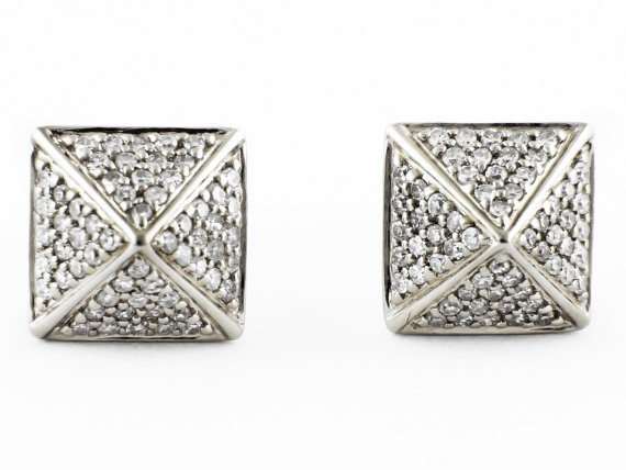 f532bf71d9015 0.32ct Micro Pavé Round Diamonds 14K White Gold Square Pyramid Stud Earrings