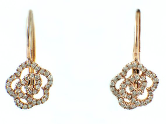0 23ct Micro Pave Diamond In 14k Rose Gold Flower Leverback Earring 8 5mm