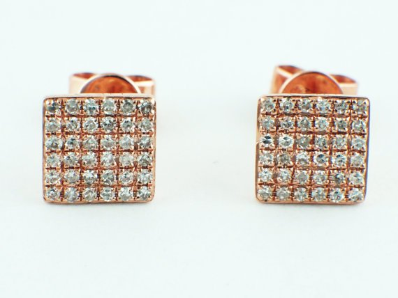 0 21ct Micro Pavé Round Diamond In 14k Rose Gold Square Stud Earrings 6 3mm