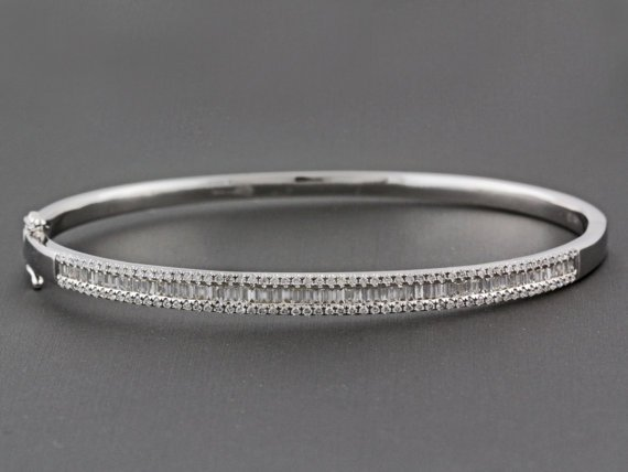 1 37ct Round Pavé & Baguette Channel Set Diamond in 14k White Gold