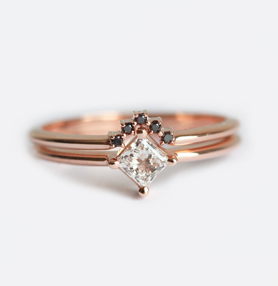 with b set a baguettes dainty tapered prong product engagement rings solitaire and ring two