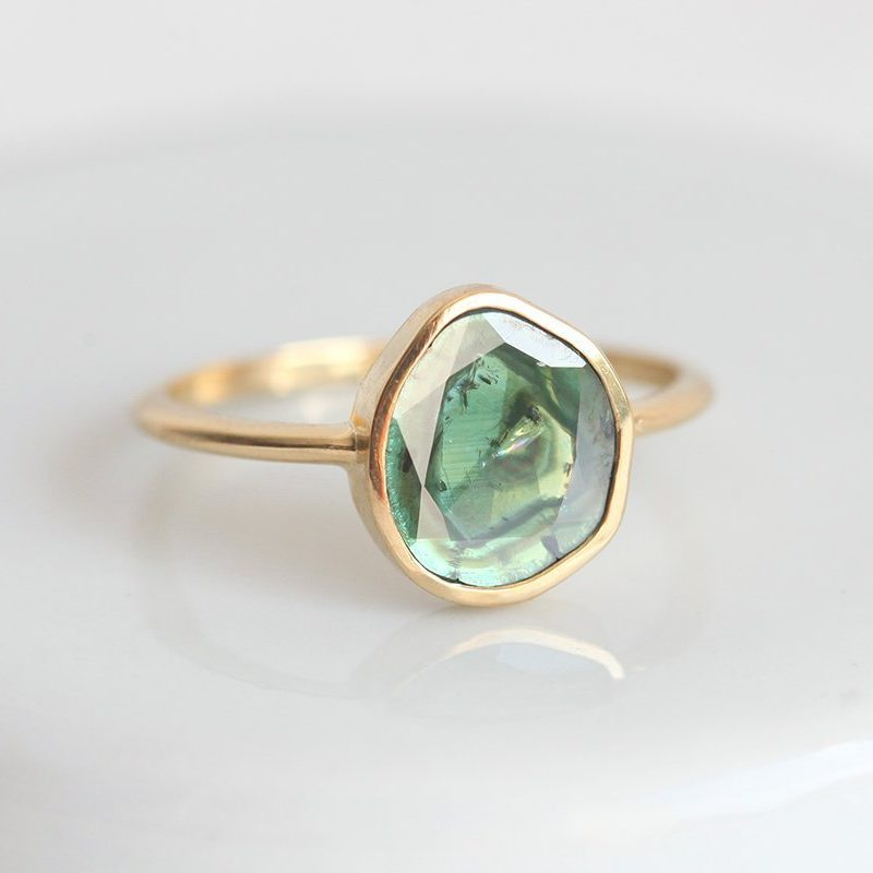 Solitaire green blue diamond slice ring