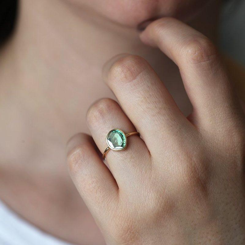 Solitaire green blue diamond slice ring
