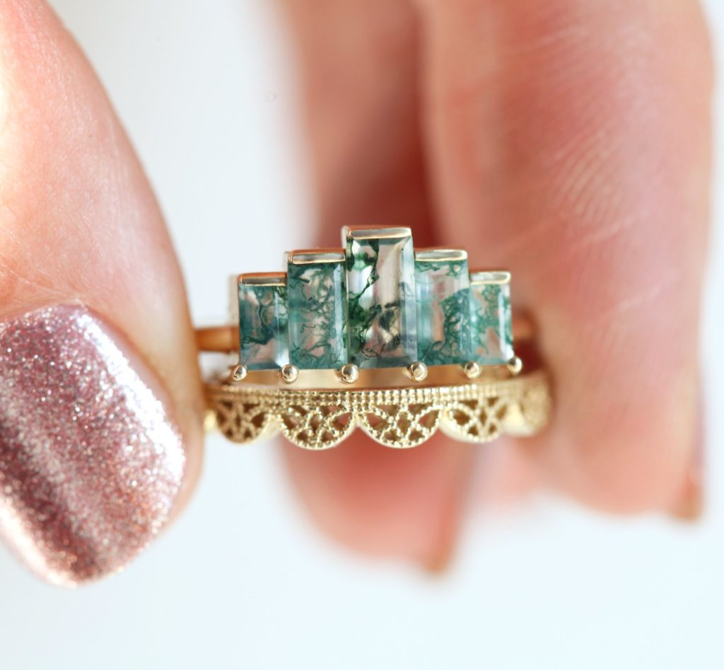 Agatha Art Deco Moss Agate Ring, Unique Baguette Engagement Ring