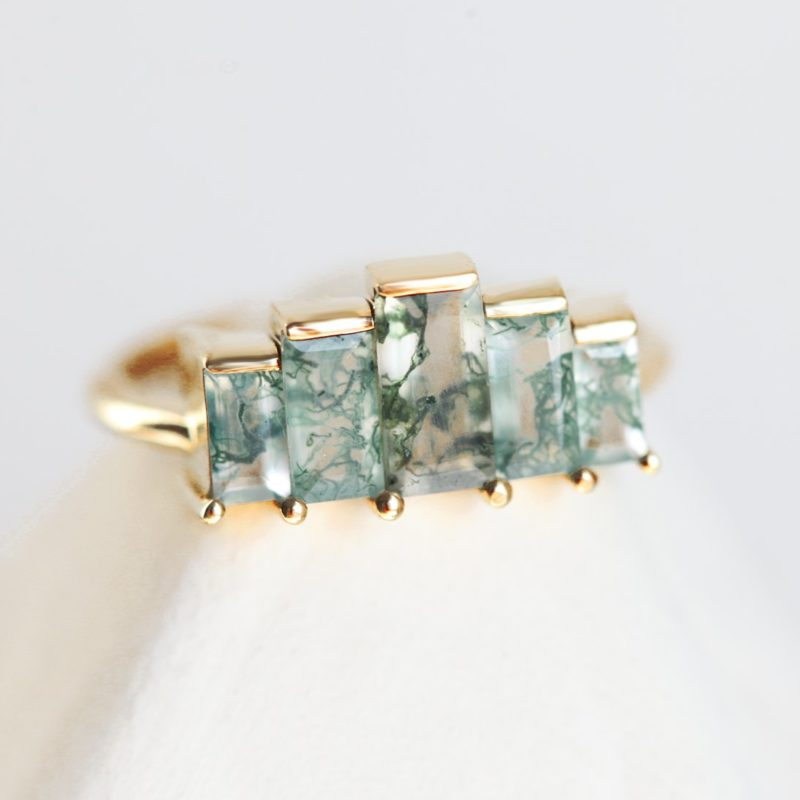 Agatha Art Deco Moss Agate Ring, Unique Baguette Engagement Ring