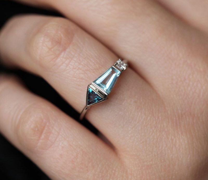Dita Unique Three Stone Ring, Multigemstone Cluster Ring