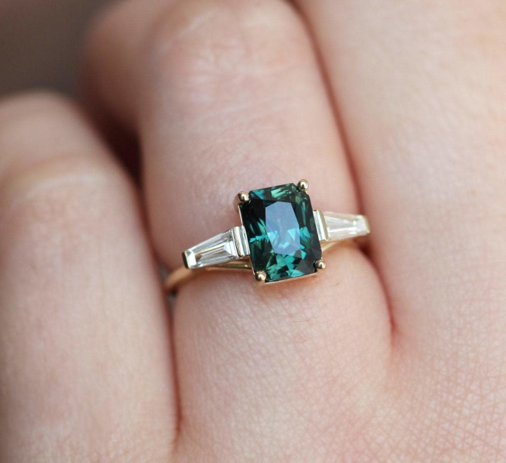 Teal Sapphire With Baguette Diamonds