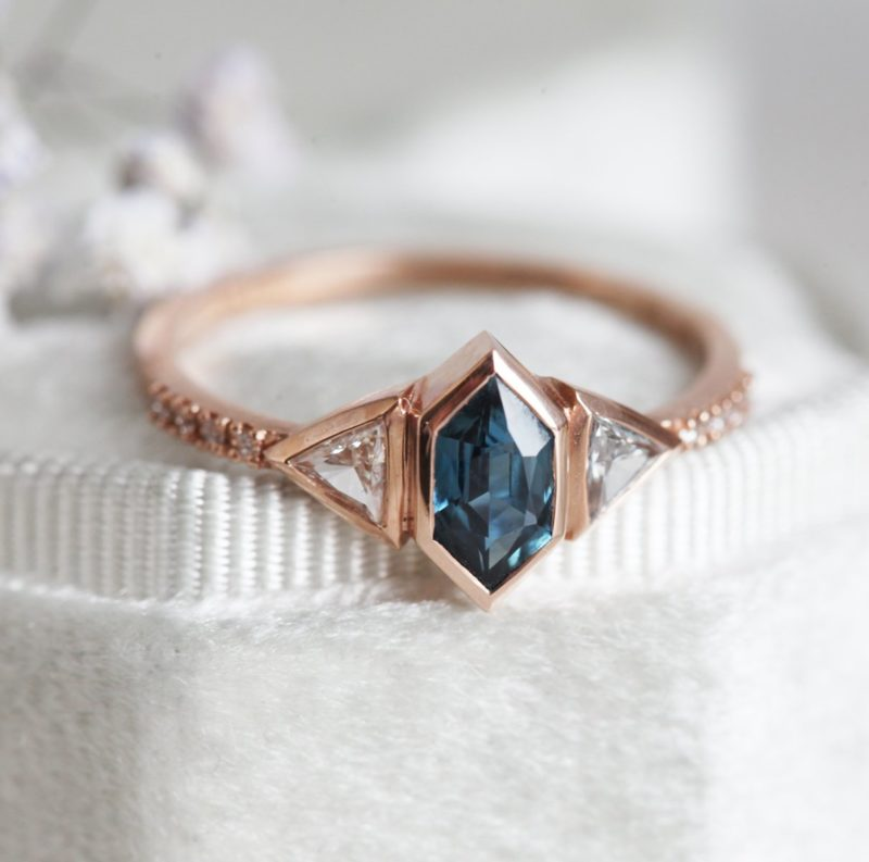 blue sapphire & diamond engagement ring