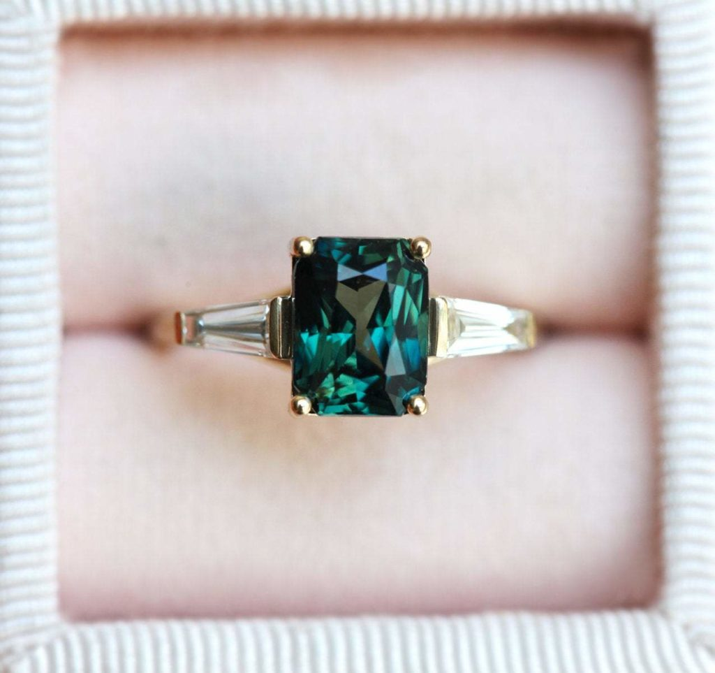 Dolores Radiant Teal Sapphire Ring With Baguette Diamonds