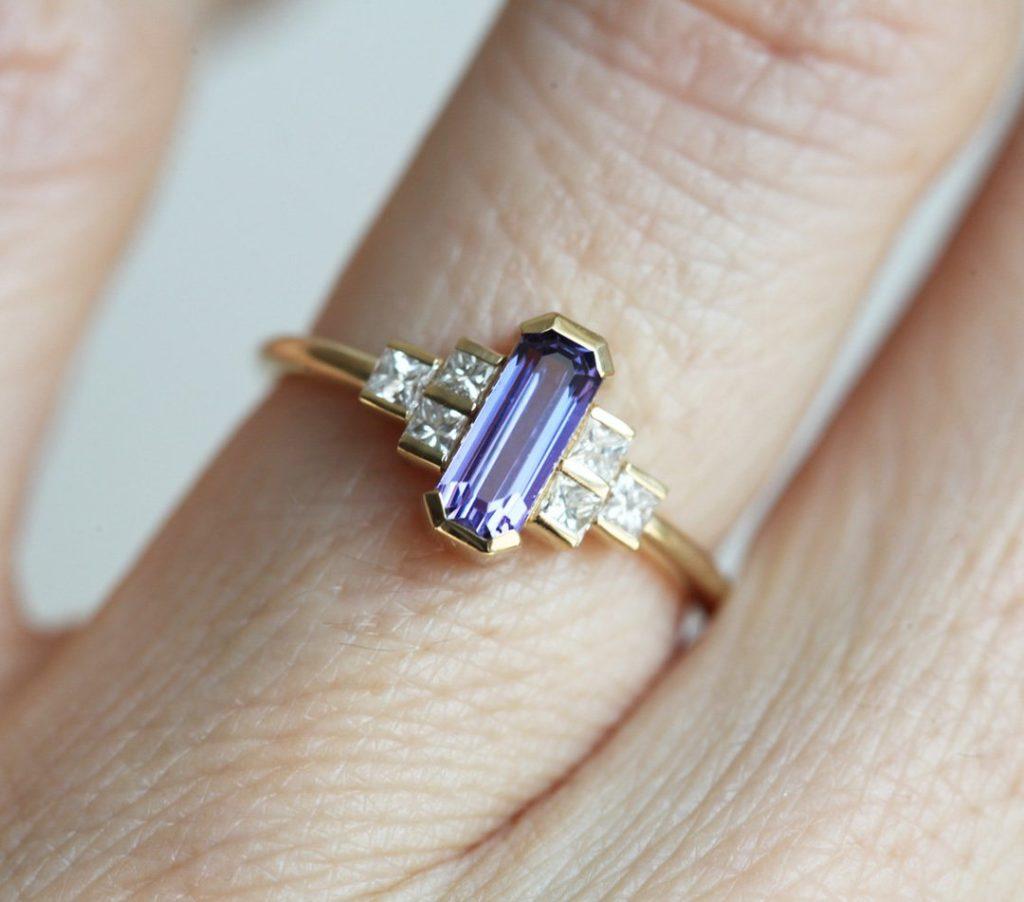 Luisa Art Deco Lavender Sapphire And Diamond Ring
