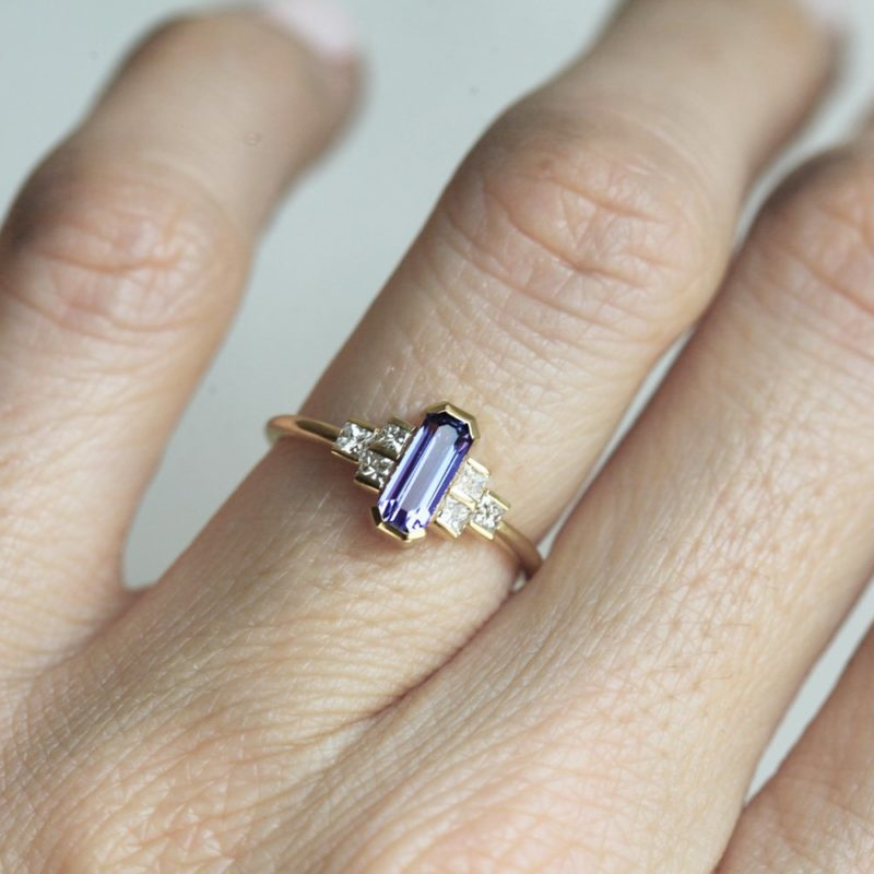 Luisa Art Deco Lavender Sapphire And Diamond Ring