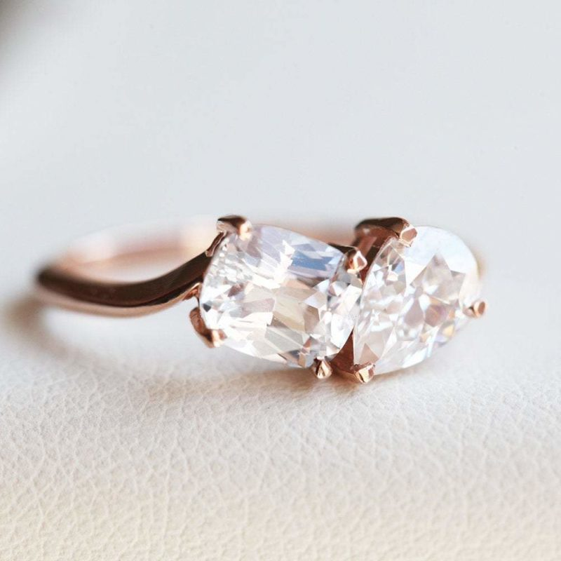 Two Stone Diamond Cluster Ring