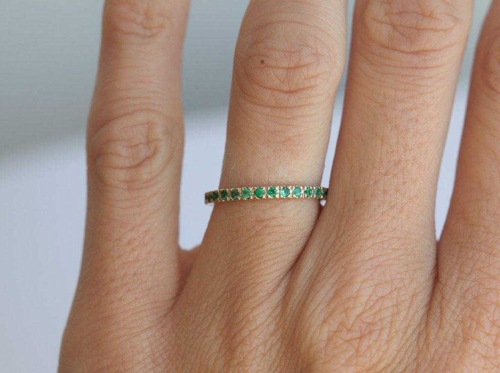 Emerald Wedding Band