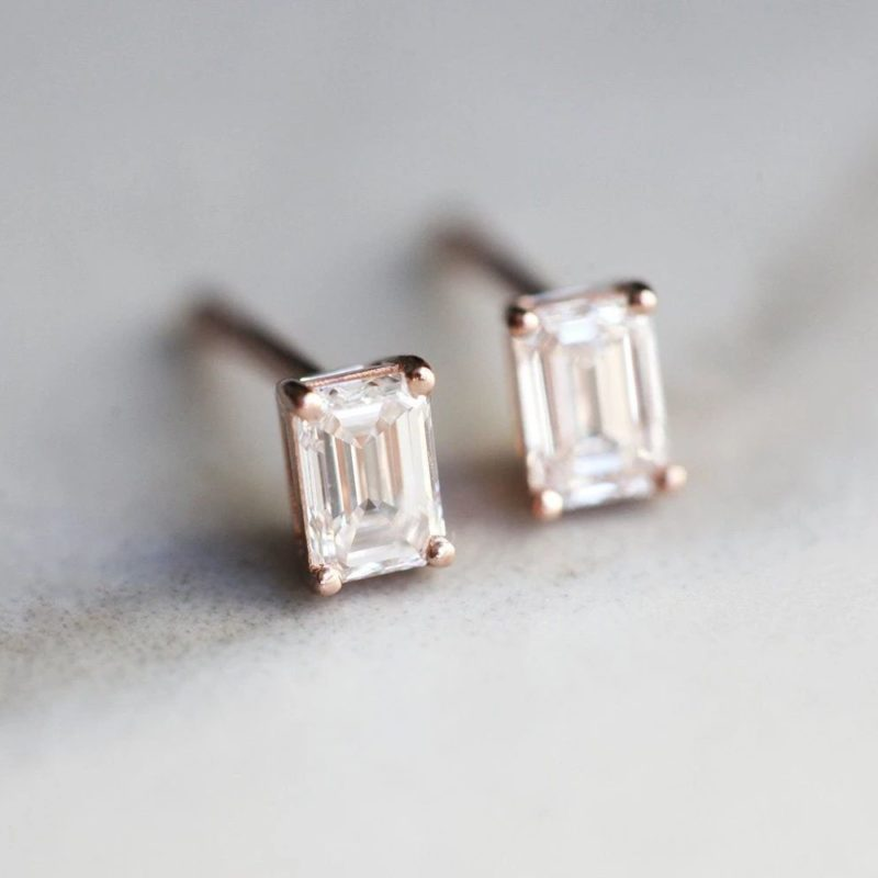 Emerald-Cut-Diamond-Earrings