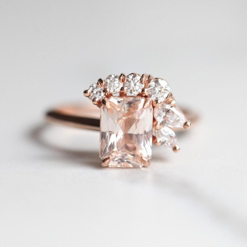 Radiant Peach Sapphire Cluster Ring