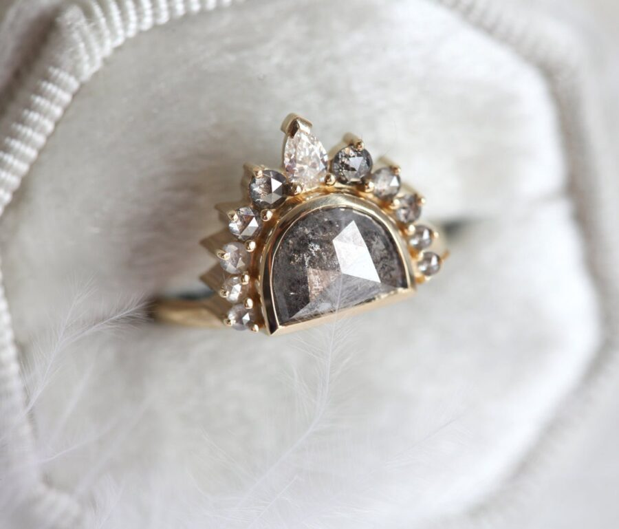 Sunrise Salt And Pepper Diamond Ring With Crown