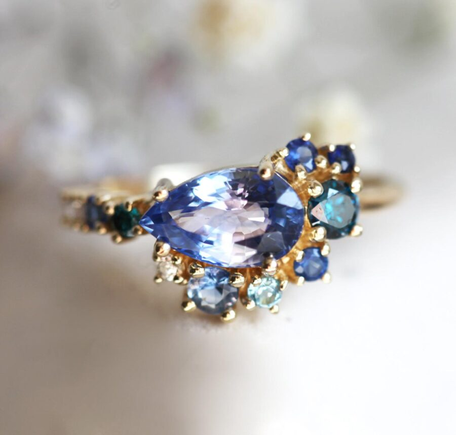 Cluster Pear Blue Sapphire Ring