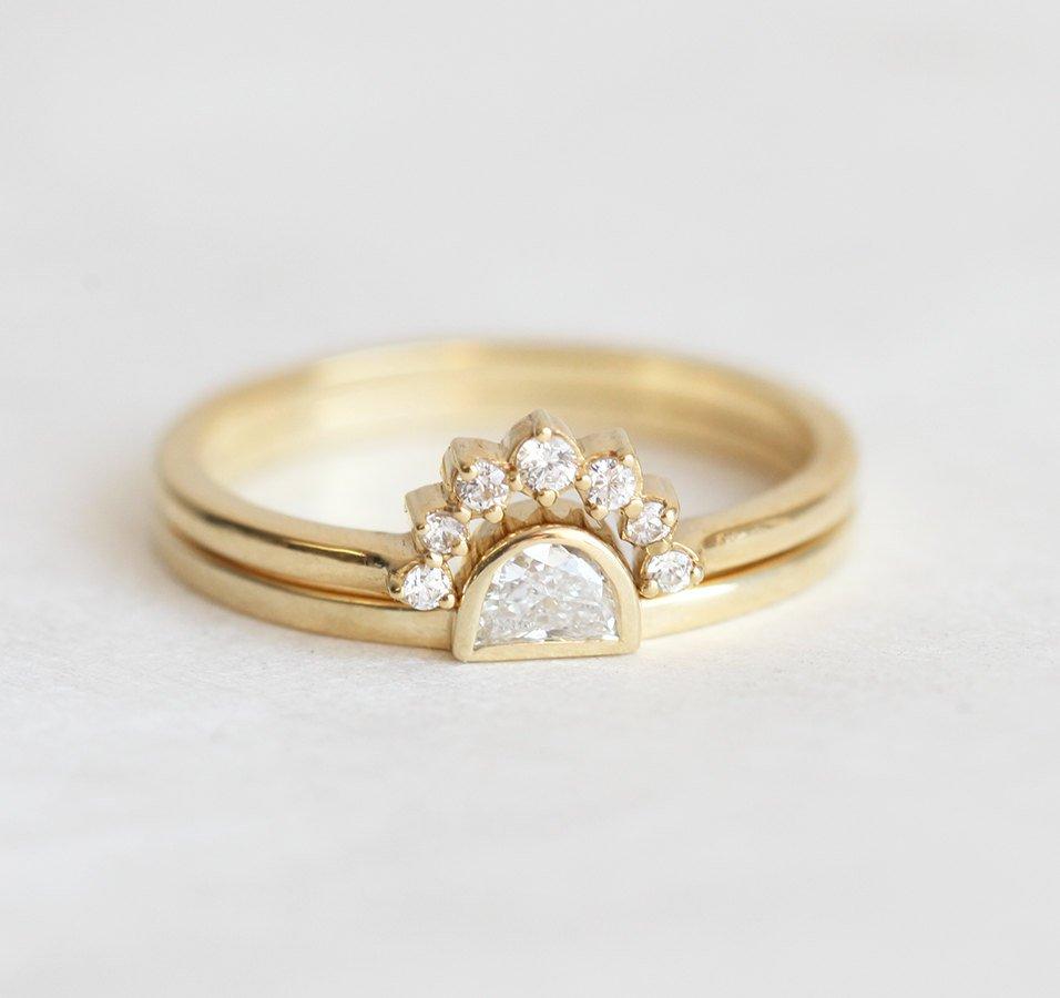 Lovely Pave Diamond Ring With Half Moon Diamond Ring - MODDLINC JD06